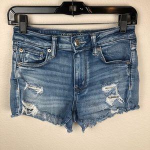 American Eagle hi-rise shorte distress lace shorts